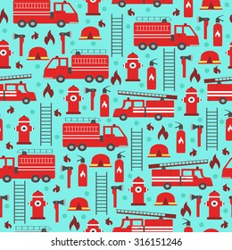 Seamless pattern  with fire tracks. Baby boy background