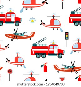 Seamless pattern with fire trucks, helicopter, airplane. Design for fabrics, textiles, wallpaper, packaging, children's room decoration.