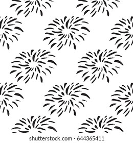Seamless pattern with fireworks in simple scandinavian style  for scrap booking, wrapping paper and creative design. Vector illustration