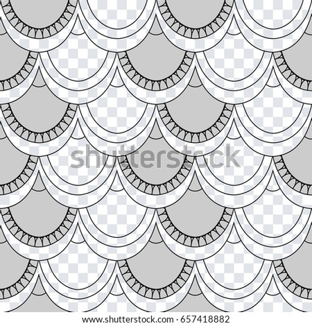 Seamless Pattern Of Fish Scales Light Gray Universal And Mermaid On A Transparent