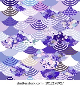 seamless pattern fish scales simple Nature background with japanese sakura flower, pink Cherry, wave circle ultraviolet purple violet colors. Vector
