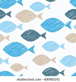 Seamless pattern with fish. Vector illustration. Print. Repeating background. Cloth design, wallpaper.