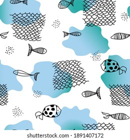 Seamless pattern with fishes and fishing net, blue spots. Vector background. Perfect for printing on the fabric, design package and cover