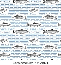 Seamless pattern with fishes on blue stripes background