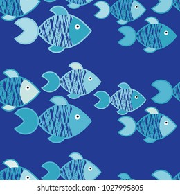 Seamless pattern with fishes in the sea. Cute cartoon. Textile rapport.
