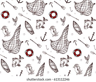 seamless pattern with fishing and sea elements and animals. colored lifebuoy