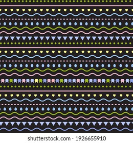 Seamless pattern with flags, hearts, eggs on the black. Easter theme. Vector design ornament.