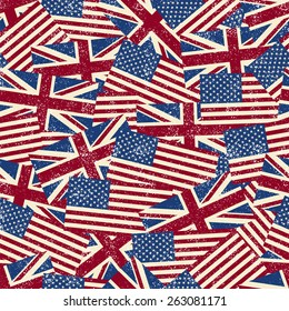 Seamless pattern with flags. Vector illustration. Grunge effect can be cleaned easily.
