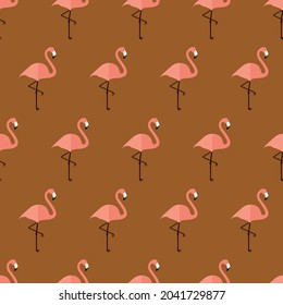 seamless pattern flamingo bird animal on brown background vector wallpaper textile giftwrap