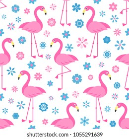 seamless pattern with Flamingo birds and flowers