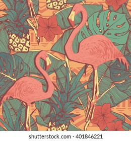 Seamless pattern with flamingo birds and pineapples