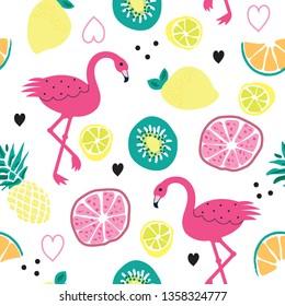 seamless pattern with flamingo and fruits, kiwi, citron, orange, pineapple, grapefruit