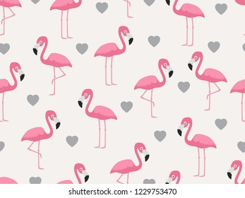 Seamless pattern of flamingo with heart on pastel background - Vector illustration