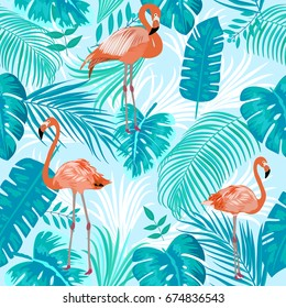 Seamless pattern of flamingo, leaves monstera, tropical leaves of palm tree. Vector background.