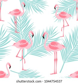 Seamless pattern flamingo standing on tropical leaves and white background.printing wallpaper.vector illustration