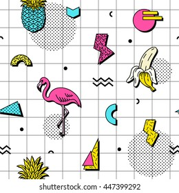 Seamless pattern with flamingos, bananas and pineapples in retro funky style