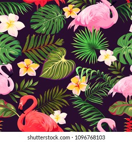 Seamless pattern with flamingos, tropical leaves and flowers