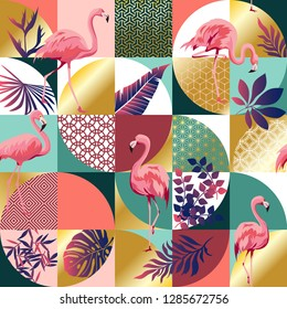 Seamless pattern with flamingos and tropical palm leaves. Exotic Hawaii art background is tropical trendy. Design for fabric, textile, wrapping paper and other decoration. Vector illustration