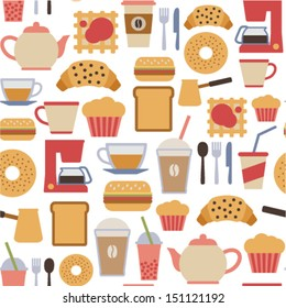 seamless pattern with flat cafe icons