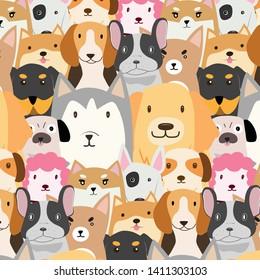 Seamless pattern flat cartoon dog funny cute kawaii illustration vector design wallpaper background.
