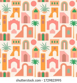 Seamless pattern with flat geometry architecture, Moroccan stairs, walls, arch, arc, palm tree. Boho style. Mid Century modern abstract print. Earthy tone, terracotta colors. Ancient orient city
