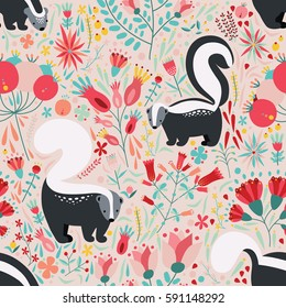 Seamless pattern in flat style with cartoon floral elements, flowers and skunks. Cute colorful background.