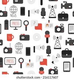 Seamless pattern of of flat vector journalism icons. Mass media. Communication.