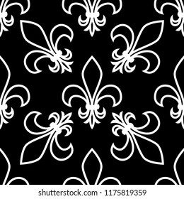 Seamless pattern. Fleur de lis. Linear vector graphics. Geometric symmetrical drawing. Black background.