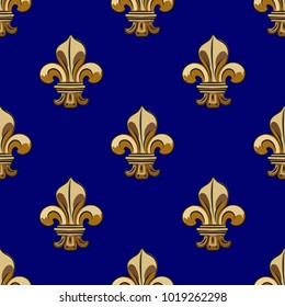 Seamless pattern with fleurs-de-lis, hand drawn, inc. Versailles. Vector. Seamless pattern for fabric background