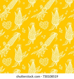 Seamless Pattern with Flint Corn (Indian corn or calico corn). Hand drawn doodle Vegetable Background. Vector illustration