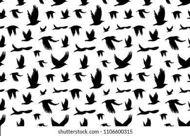 Seamless pattern with  flock of birds. Vector illustration for printing on clothes, dress, cards, posters, cover for notebook.