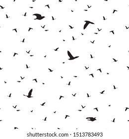 Seamless pattern flock of black birds silhouette flying on white background. Elegant animal fly print, modern motif fabric textile cloth or wall paper, vector design eps 10