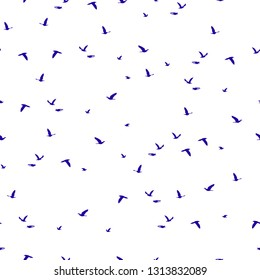 Seamless pattern flock of blue birds silhouette flying isolated on white background. Elegant wild animals fly print, modern motif fabric textile cloth or wall paper, vector design eps 10