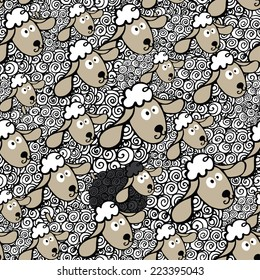 Seamless pattern flock of white sheeps and One black sheep.Cute cartoon sheep in curly ornament.Symbol 2015 year sheep.Use for fabric,Wallpaper,background,wrapping paper,baby design.Vector