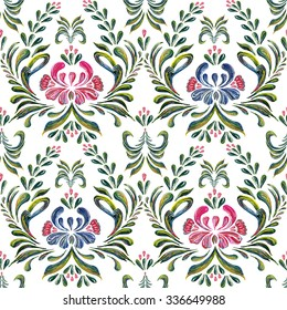 Seamless pattern with floral background.  Ethnic flower ornament.  Petrykivka art. Ukrainian folk art.