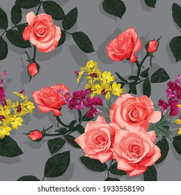 Seamless pattern floral beautiful Rose and orchid flowers vintage abstract background.Vector illustration hand drawing dry watercolor.for fabric textile design or Product packaging