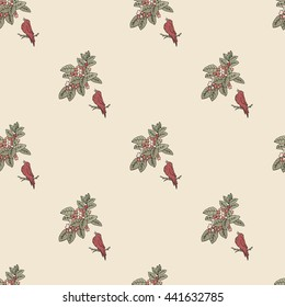 Seamless pattern. Floral Design with birds and leaves.