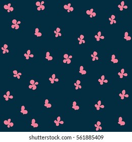Seamless pattern with floral elements blue and pink colors. Vector illustration.