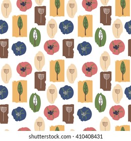 Seamless pattern with floral elements in Scandinavian style. Vector illustration for textile and fabric design, wallpaper and wrapping paper etc.