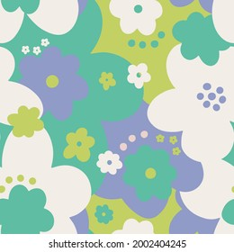 Seamless pattern floral flower abstract.Botanical vintage nature background.Print fashion textile.Vector illustration.