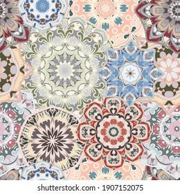 Seamless pattern with floral mandala.