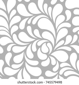 Seamless pattern with floral modern ornament. Vector abstract rounded light grey background.