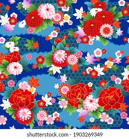 Seamless pattern with floral motif in asian style for design of spring dress fabrics