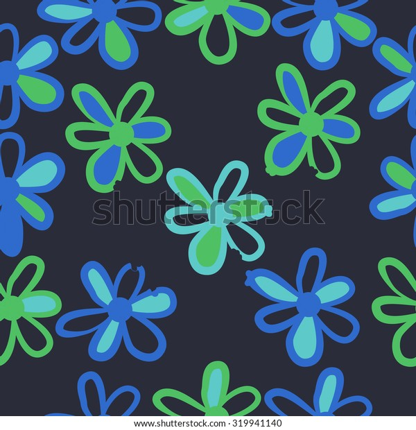 Seamless   pattern of floral motif, ellipses, stripes,flowers, doodles. Hand drawn.