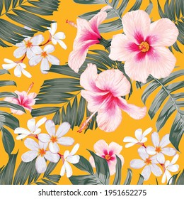 Seamless pattern floral with pink pastel Hibiscus and frangipani flowers on isolated yellow background.Vector illustration hand drawn.For fabric fashion print design or product packaging.