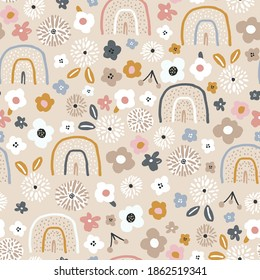 Seamless pattern with floral rainbows and hand drawn flowers. Creative blooming texture. Great for fabric, textile Vector Illustration