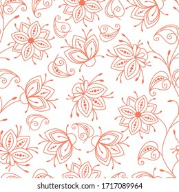 Seamless pattern. Floral red outline on white isolated background vector illustration