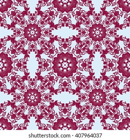 Seamless pattern with floral round elements.