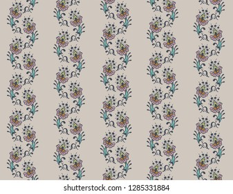seamless pattern with floral stripes
