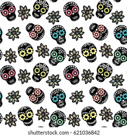 Seamless pattern with floral sugar skulls and flowers on white background